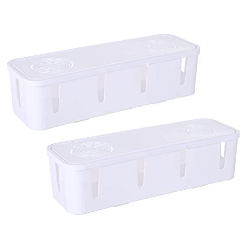 Caja De Almacenamiento De Cables Organizador Caja De Almacenamiento De Cables Caja De Almacenamiento Y Organización De Regleta De Alimentación Ordenada Cable De Escritorio White,One Size