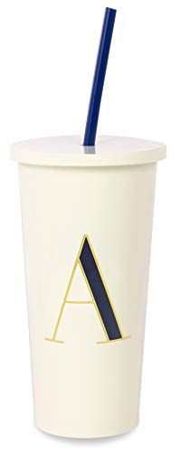 Kate Spade New York Insulated Initial Tumbler with Reusable Straw, 20 Ounce Acrylic Travel Cup with Lid, A (Navy Blue)