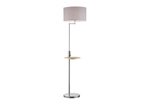 Lámpara de pie LED de níquel plateado mate con pantalla de tela gris, incluye mesa de almacenamiento integrada y conector USB con función de carga.