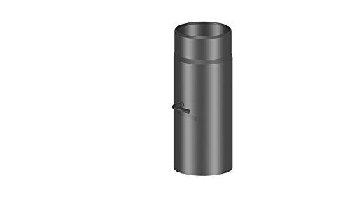Ofenrohr / Kaminrohr / Rauchrohr mit Drosselklappe, 300 mm Länge und 120mm Durchmesser, schwarz