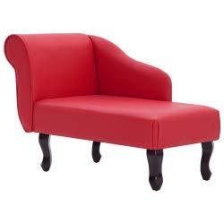 vidaXL Chaiselongue Recamiere Couch Sofa Sessel Chaise Relaxliege Loungesofa Liege Schlafsofa Liegesessel Schlafcouch Bettsofa Kunstleder Rot