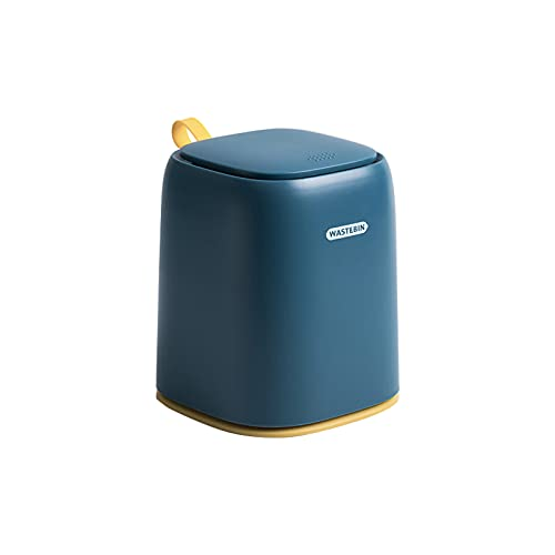 Alapaste Casa Decoración Papelera,Mini Basura Enlatar,para Vestirse Mesa,Comidas Mesa,Office Desktop,Simplemente Haga Clic En Papelera-Azul 5.4 * 5.4 * 6.65inch