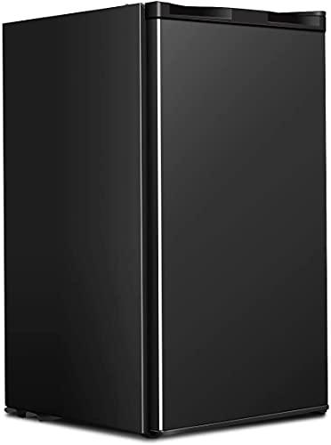 GOFLAME Compact Refrigerator 3.2 Cu. Ft, Mini Fridge with Single Reversible Door, Mechanical Thermostat Control, Low Noise Operation, Fridge Freezer for Office Dorm Garage, Black