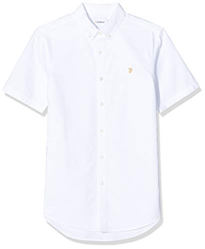 Farah Vintage - Chemise casual - Col boutonné - Manches longues Homme, Blanc, FR : Small (Brand size : Small)