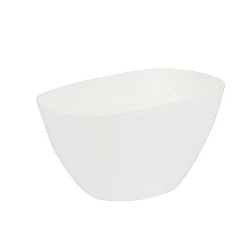 Cache-pot balnc en plastique Coubi ovale 20 cm, avec fond surélevé