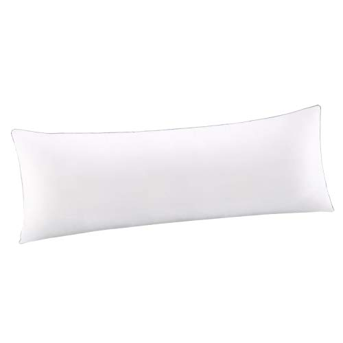 HOMFY Long Body Pillow for Sleeping,100% Cotton Bolster Support Pillow (White, 20x54 inches)
