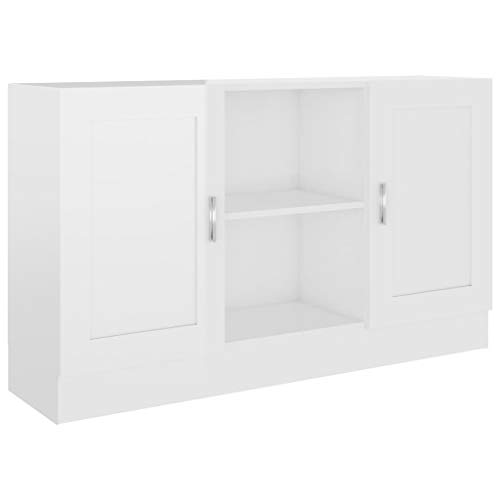 vidaXL Sideboard 2 Fächer 2 Türen Kommode Anrichte Beistellschrank Mehrzweckschrank Standschrank Schrank Hochglanz-Weiß 120x30,5x70cm Spanplatte