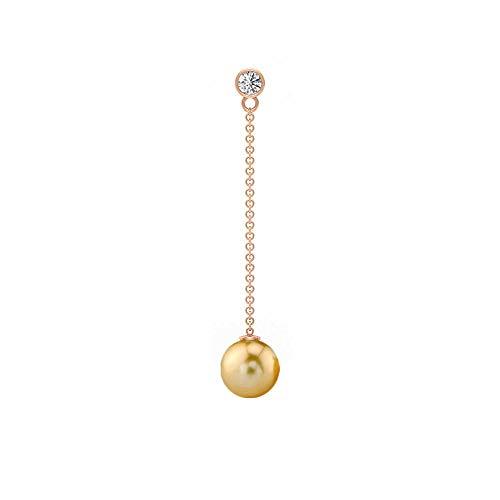 6.22 CT Solitario Pendientes de perlas del Mar del Sur, pendientes largos de cadena, pendientes colgantes, pendientes de diamante HI-SI, 18K Oro rosa, Par