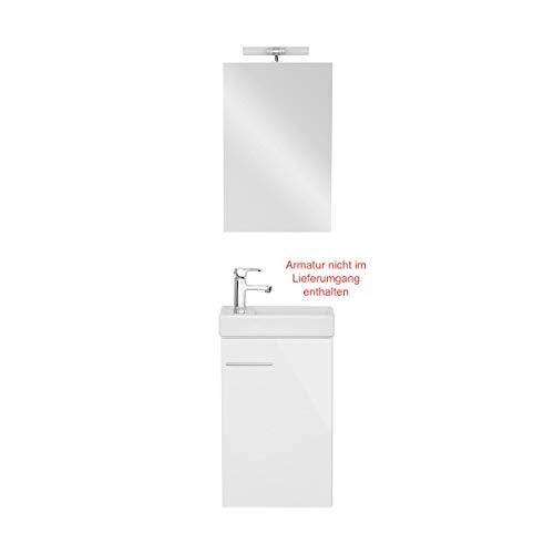 Galdem Bad-Set Bologna Gäste WC Set Gästebad Badmöbel Waschbecken Unterschrank Keramikwaschbecken Waschtisch Spiegel Halogen Beleuchtung Weiß
