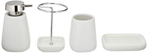 AmazonBasics Juego de accesorios para baño, cerámica, 4 piezas, blanco