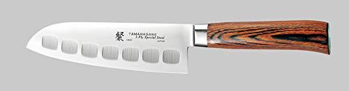Tamahagane SAN Stainless Steel Laminated Wood Fluted Santoku Knife 6Inch