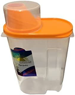 Portable Storage Bin Container, Airtight with Pour Spout and Measuring Cup, Sealed Clear Plastic Food Saver for Rice Grain...