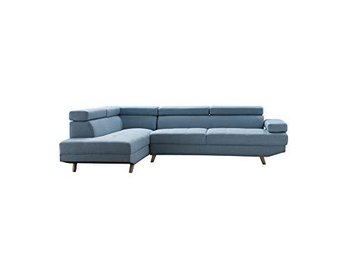 Loungitude - Canapé d'angle droit style scandinave en tissu - Bleu - 5 Places