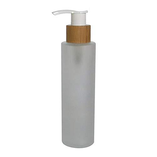 1PCS 150ml / 5oz Bomba de vidrio esmerilado recargable vacía Bomba de prensa Dispensador de loción Contenedor de maquillaje Tarro Vial Holder Pot con tapa de bambú para suero de esencia de emulsión
