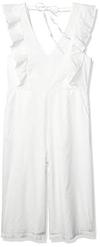 BCBGeneration Damen Ruffle Eyelet Culotte Jumpsuit, Optic White, 36