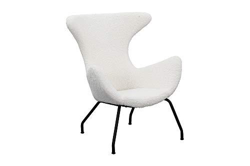 SalesFever Relax-Sessel Sherpa | Bezug Teddyfell in Weiß | Gestell Metall schwarz | Polstersessel mit Armlehnen | skandinavisches Design