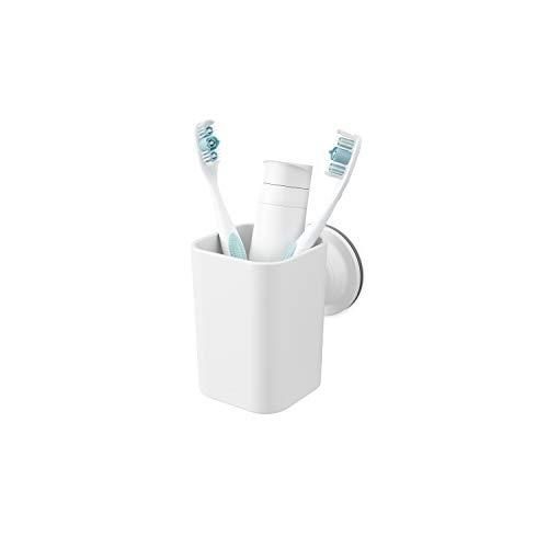 Umbra Flex Sure-Lock Zahnbürstenhalter, Mundbecher, Becher für Zahnpasta, Kamm und Make-Up Pinsel zur Anbringung an Glasscheiben, Spiegel und Fliesen mit Sure-Lock Verschluss Technologie ohne Bohren