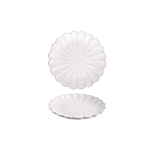 DSFHKUYB Juego de 2 Platos de cerámica para Cena, para Pasta, Ensalada, Plato Principal, microondas y lavavajillas,Blanco,8in
