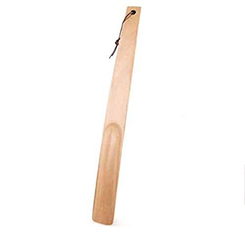 Sisyria Calzador De Madera, Ayuda para Calzar con Calzador Largo Engrasado con Correa De Cuero para Mujer Hombre Botas, Calzado Deportivo Y Tenis 38Cm