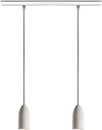"""Buchenbusch urban design 2er Betonlampe""""light edition"""" – Textilkabel""""Schwarz"""" (26 Farben) – Deckenleuchte aus Beton mit Deckenschiene & GU 10 LED Strahlern, Pendelleuchte Esstisch, Esszimmer"""