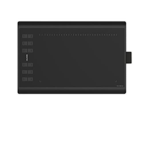 HUION H1060P Tableta gráfica con área de Trabajo de 10 x 6.25 Pulgadas con una Mejora Soporte de lápiz óptico sin batería Enseñanza y Trabajo en línea, y Uso de conferencias Web (Reacondicionado)