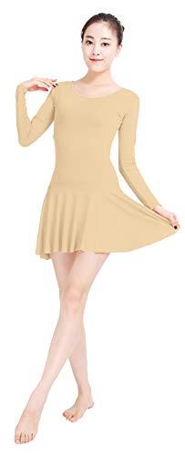 Insun Femme Justaucorps de Danse Manches Longues Ballet Robe Leotard Gym Yoga Robe en Lycra Beige M