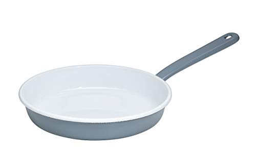 Generisch Riess, 0291-065, Omelettpfanne 22cm, Pure Grey, emailierter Stahl, Grau, 0,798kg, 22cm Durchmesser, 40,9 x 23,4 x 7,5cm