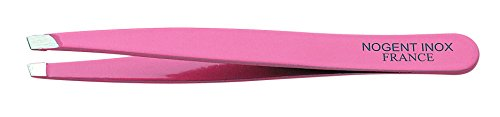 """Pince àépiler""""Nogent"""" couleur rose, 9,5 cm inox, mors biais"""