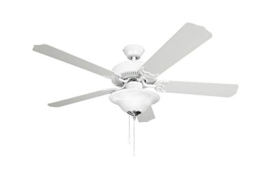 Hyperikon 42 Inch Ceiling Fan, 55W, Remote Control and Pull Chain, White Body, 5 Blades, Frosted Dome Light E12 Screwbase, White
