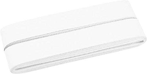 Zierstoff einfach nähen Unifarbenes Schrägband, Baumwolle, vorgefalzt, 20 mm breit - 5 Meter Länge, Weiß