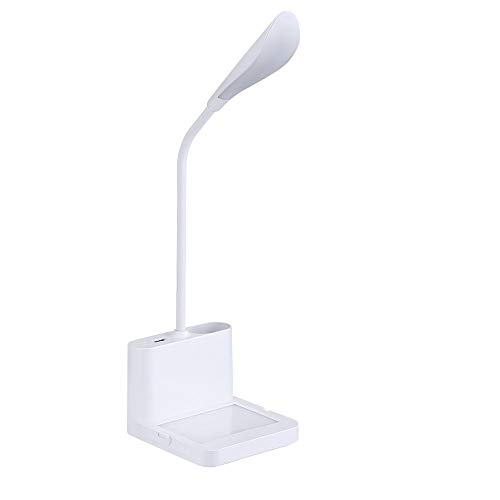Desk Lamps Lámpara de Escritorio Pequeña Led Luz de Lectura Ajustable con Cuello de Cisne Puerto de Carga USB con Portalápices Atenuación Continua para Dormitorio Cabecera Escritorio Sala de Trabajo