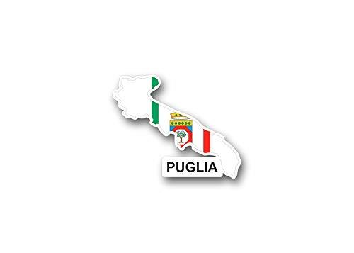 Akachafactory sticker vlag vlag Italië Italia kaart land staat apulien Puglia