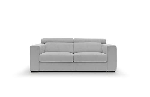 Sofá fijo de tela suave totalmente desenfundable, modelo Titan de 3 plazas o esquinero con chaise longue derecha o izquierda, estructura de madera, fabricado en Italia, (gris claro, 3 plazas)