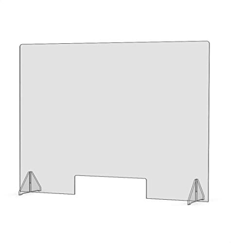 """SNEEZE GUARD 32""""W X 24""""h X 1/4"""" THK DIVIDER PROTECTION BARRIER SHIELD CHECKOUT COUNTER DESK (2 1/2"""" X 19 1/12"""" CUTOUT) (2-Pack)"""