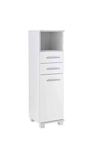 Schildmeyer Lina Highboard, Holzdekor, Weiß, 30 x 32.5 x 110.5 cm