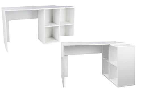 Escritorio de esquina para ordenador, mesa de trabajo, mesa de oficina, mesa de oficina, mesa de esquina, combinación de color blanco, 149,5 x 75,5 x 50 cm