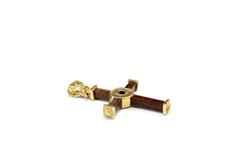 14 Karat Yellow Gold Italian Wooden Cross Charm