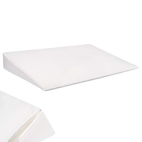 Selfitex Extra großer Matratzenkeil, Keilkissen, Schlaferhöhung, Liegeerhöhung für Rücken und Beine, Maße: 90 x 60 cm, Höhe 12 cm, Abnehmbarer und waschbarer Bezug (Farbe: weiß)
