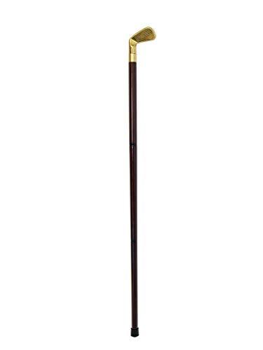 Antike Fundgrube Gehstock aus edlem Holz mit Handgriff Motiv Golfschläger   Wanderstock Spazierstock Trinkstock   zerlegbar   Messing   H: 91,5 cm (9323)
