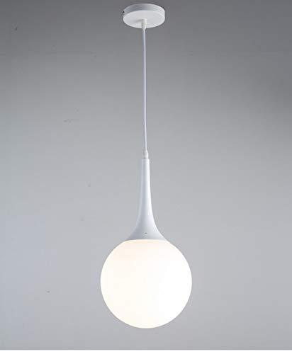 Moderna Globo redondo moderno de cristal blanco Lámpara de Techo Colgante Cristal Colgante Luz Vintage Industrial E27 Lámparas de araña para restaurantes dormitorios cocinas cafeterias bar (20cm)