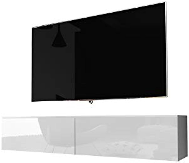 Kane – Fernsehschrank Tv-Lowboard Hngend In Wei Hochglanz 140Cm