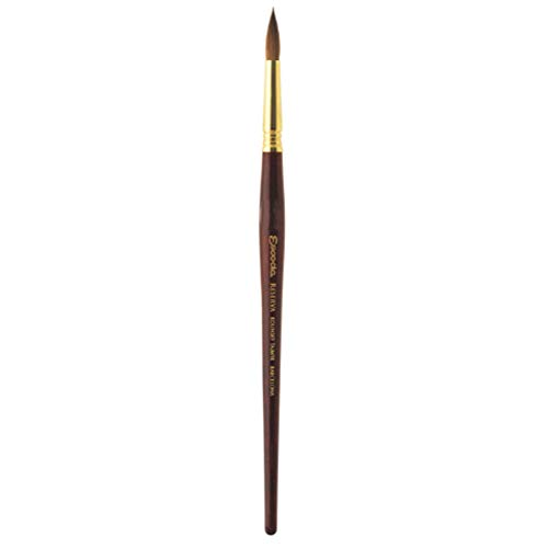 Escoda Reserva 1212 Series Artist Watercolor Short Handle Round Paint Brush Size 8, Pure Kolinsky-Tajmyr