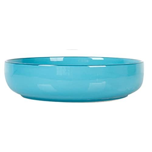 JIASHIQI Placa de Cena, Placas de Porcelana, Placa Grande de la Boca Profunda, Placa de Sopa de cerámica, Placa de Filete, Placa de Postre (Color : Blue, Size : 10.43 * 10.43 * 2.67inch)