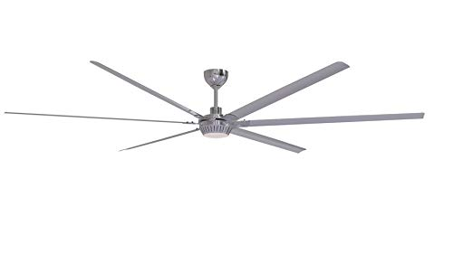 """Windswept 120"""" Outdoor Ceiling Fan with Remote & Wall Control, 6 Aluminum Blades, Brushed Polished Nickel - Craftmade WND120BNK6"""