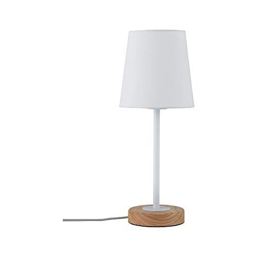 Paulmann 79636 Neordic Stellan Tischleuchte max. 1x20W Tischlampe für E27 Lampen Nachttischlampe Weiß 230V Stoff/Metall/Holz ohne Leuchtmittel