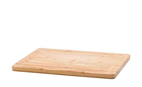 Schneidebrett Holzfarben 40 cm x 30 cm Messerbrett mit Saftrille KHG Bambus