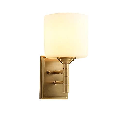 ZNLHJ Nueva lámpara de Pared Simple de Cobre de Estilo Chino, lámpara de cabecera con Pantalla de Vidrio Individual, Creatividad de Apariencia Simple y Exquisita, Accesorio de iluminación Interior