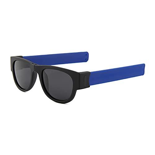Gafas De Sol Nuevas Gafas De Sol para Mujer, Pulsera Abatible, Gafas De Sol, Sombras Plegables, Moda para Hombre, para Espejo Colorido, Azul