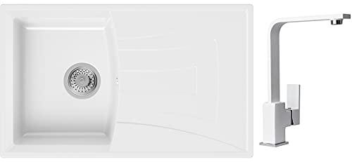 PRIMAGRAN Fregadero de Granito 77 x 47 cm, Lavabo Cocina Un Seno + Mezclador de Fregadero + Sifón Clásico, Fregadero Empotrado Valencia, Blanco