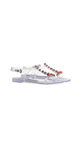 Sergio Rossi Women's Khata Sandals, Transparente/Corallo, Clear, Red, 9 Medium US